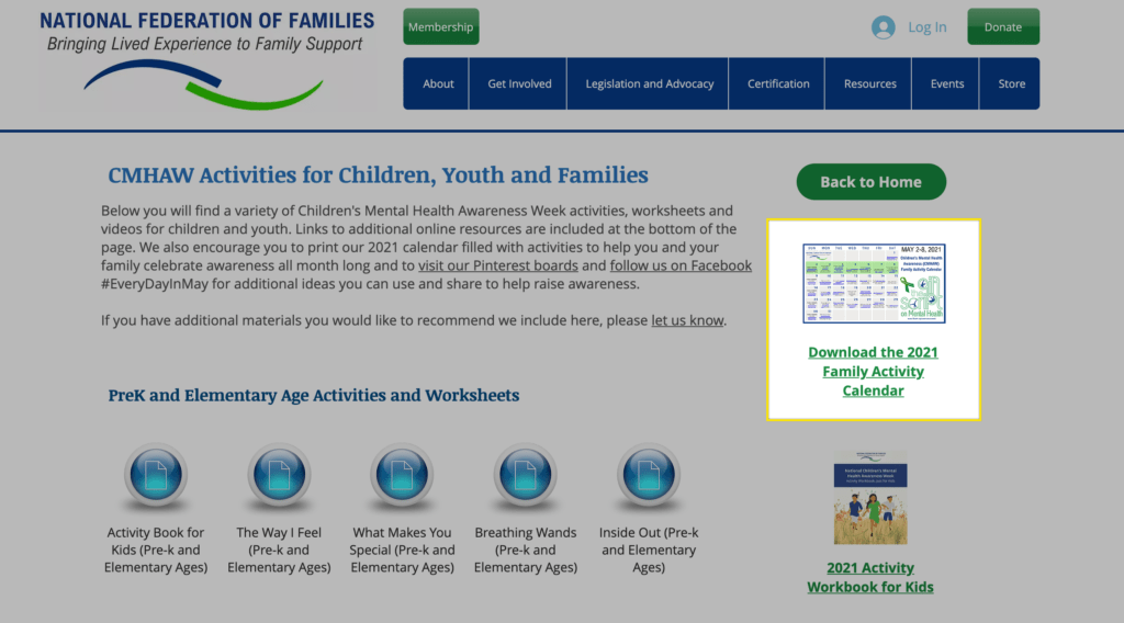 mental health activities for primary school - screenshot of where to find the family activity calendar on the NFF website